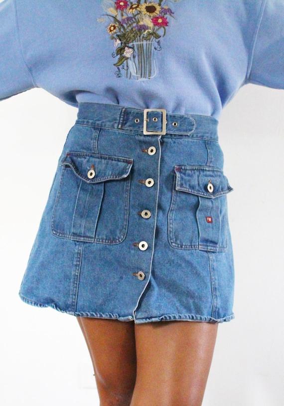 SALE Vintage High Waisted Denim Skirt Jean Skirt … - image 3