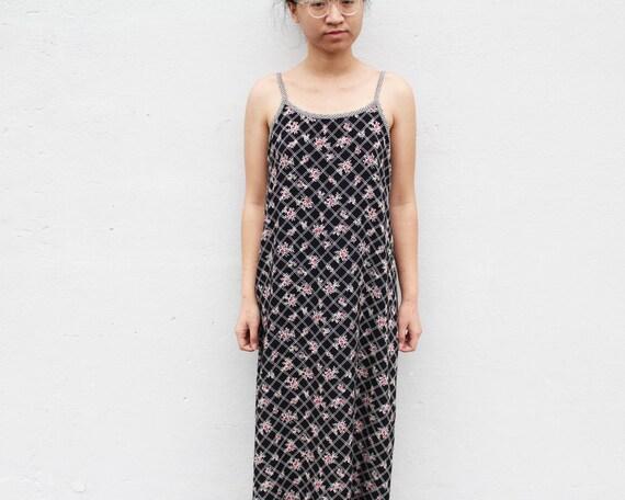 Vintage Floral Grunge Maxi Dress Flowy Slip Dress - image 4