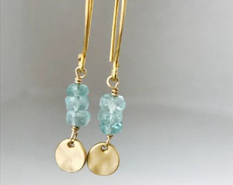 Aquamarine Earrings April Birthstone Tiny Aquamarine Earrings Aqua Earrings  Coin Earrings Dainty Earrings Gemstone Earrings Drop Earrings