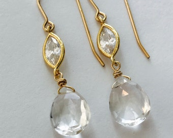 Clear Quartz Earrings Briolette  Earrings Marquise CZ Earrings Boho Earrings Drop Earrings Gold Earrings Gift For her Gemstone Earrings