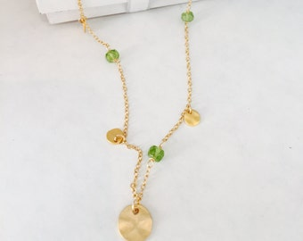 Peridot Necklace, Layering Necklace, Charm necklace, August Birthstone, Coin Necklace, Healing necklace, 4th Chakra Necklace