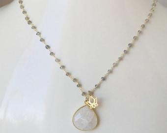 Moonstone Necklace Yoga Necklace Lotus Flower Labradorite Necklace Rainbow Moonstone Gemstone Necklace Boho Layering Necklace Birthstone