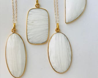 White Agate Necklace Agate Necklace Long Chain Necklace Agate Slice Boho Necklace Jewelry For Women Gift Idea Stone Necklace