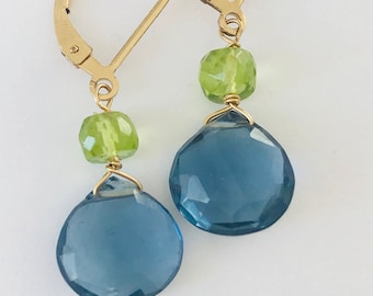 London Blue Topaz Earrings,  Peridot Earrings,  Quartz earrings , December birthstone, Gemstone Earrings, Healing Earrings