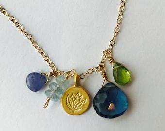 Lotus Flower Necklace Yoga Necklace Peridot Tanzanite Chakra Necklace Gemstone Necklace Boho Necklace Healing Necklace Bohemian Necklace