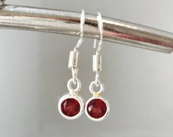 Garnet Earrings Red Silver Earrings Gemstone Earrings January Birthday January Birthstone Charm Earrings, January Earrings