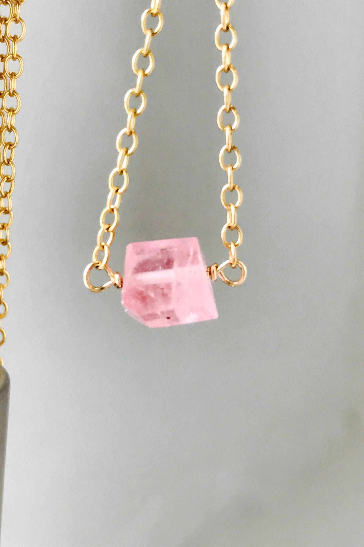 pink tourmaline necklace tiny pink necklace raw tourmaline. Black Bedroom Furniture Sets. Home Design Ideas