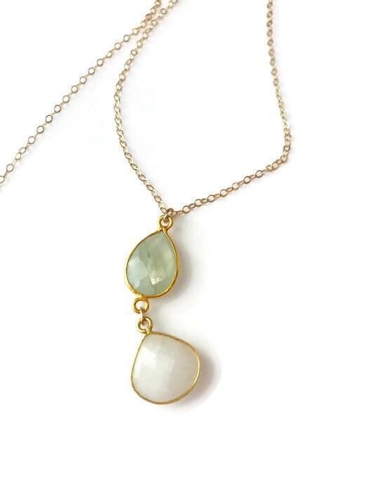 Moonstone Necklace  Prehnite Necklace Gemstone Necklace  Boho Necklace Summer Necklace Gift For her June Birthstone