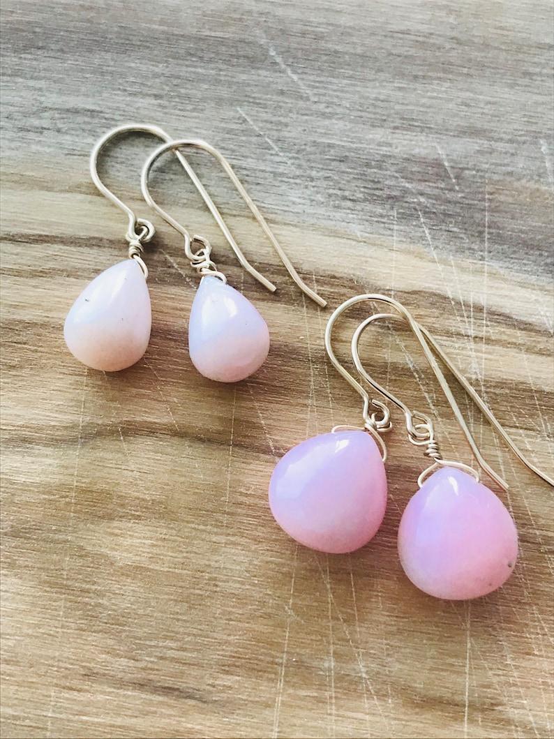 PERUVIAN Pink Earrings Opal Earrings Pink Earrings October Birthday Drop Earrings Minimalist Earrings October birthstone Gift for women