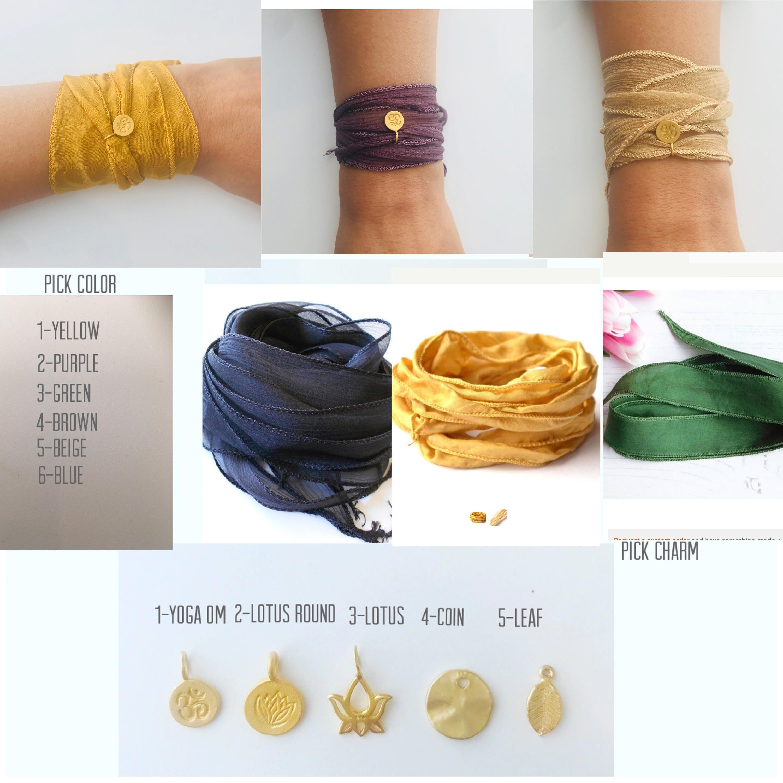 Yoga Bracelet Om Bracelet Lotus Flower Bracelet Hand Dyed Silk