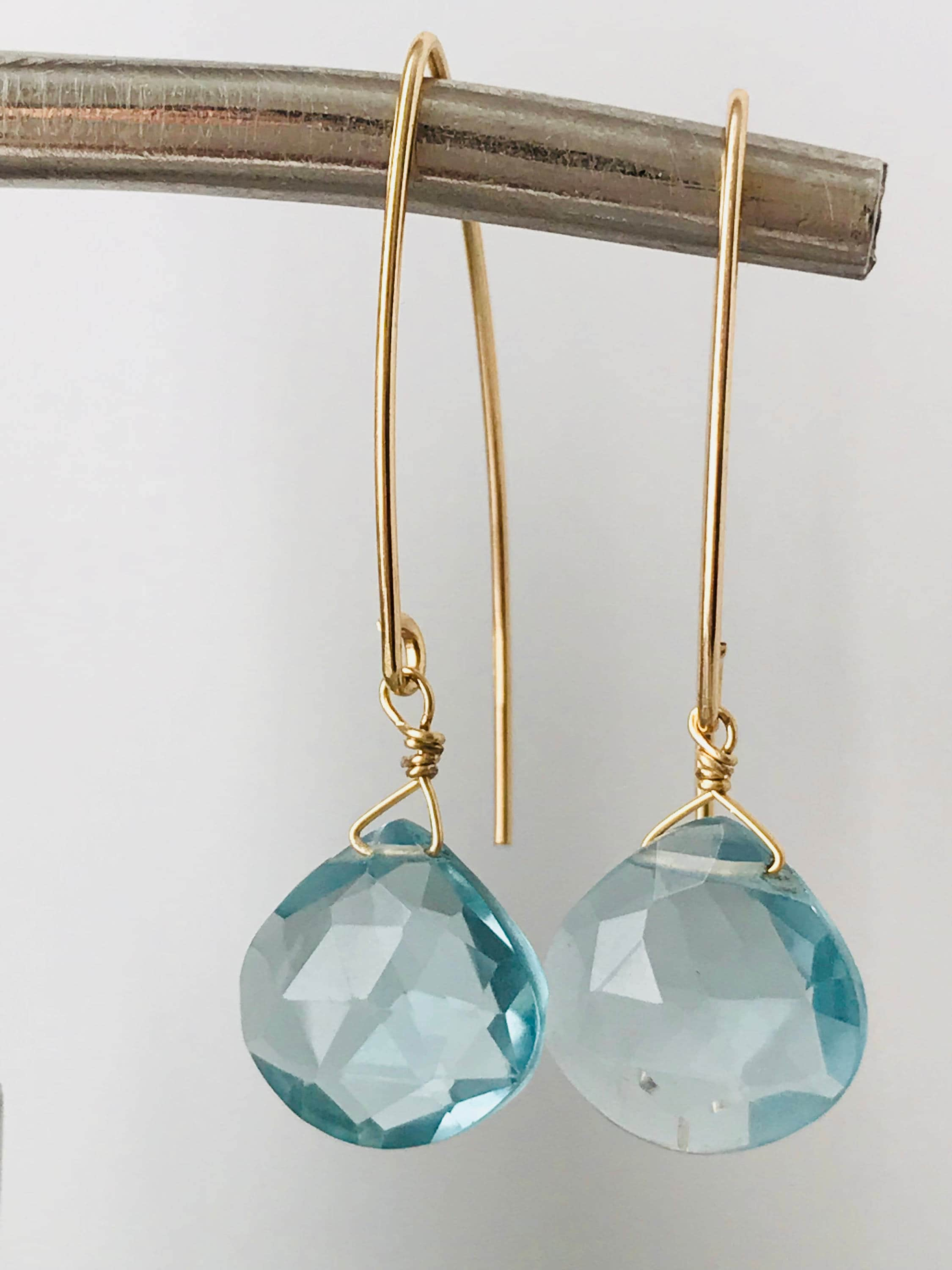 earrings genuine aquamarine stud white gold gemstone