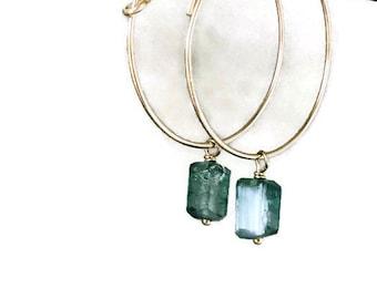 Tiny Tourmaline Earrings Green Tourmaline Earrings 14k Gold Fill Earrings Boho Earrings October Birthstone Hoop  Earrings October Birthday