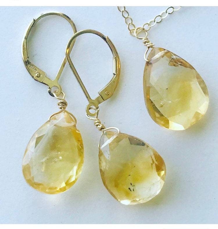 Citrine Gold Earrings Citrine Gold Necklace Yellow Crystal Earrings Citrine Jewelry Set Citrine Earrings and Necklace Jewelry Set