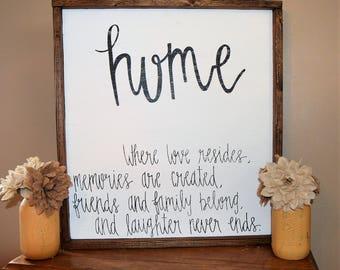 Custom Wooden Sign-Handmade-Farmhouse-Rustic-Distressed-Home Decor-Home...where love resides