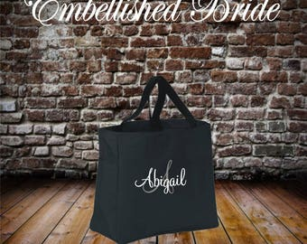 11 Bridesmaid Tote ZIPPERED Embroidered Bags Bridal Party Gift