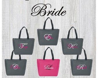 6 Tote Bags with ZIPPER ,Bridesmaid tote bag , bridesmaid gifts , beach bag , bachelorette party gift , wedding tote bags, monogrammed tote