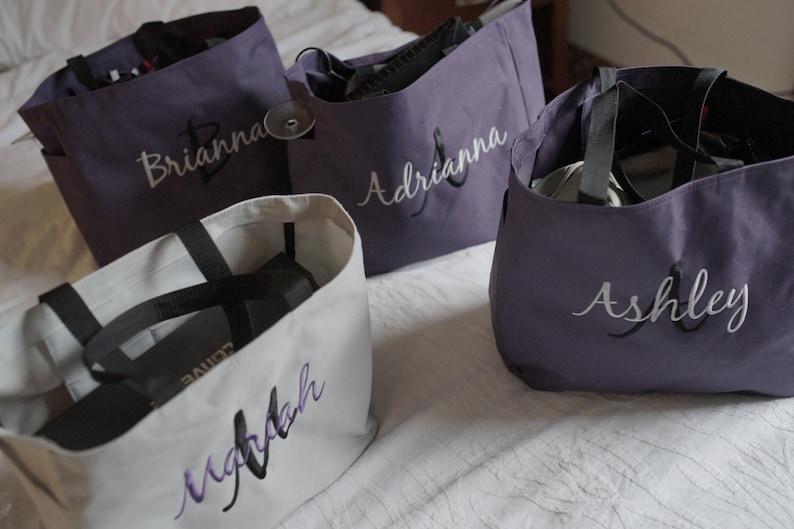 6 Tote Bags Personalized Bridesmaid tote bag  bridesmaid image 0