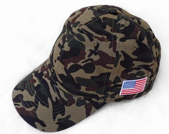 27f5d329082a8 American Flag Hat Camo Dad Hat USA Hat Camouflage Baseball