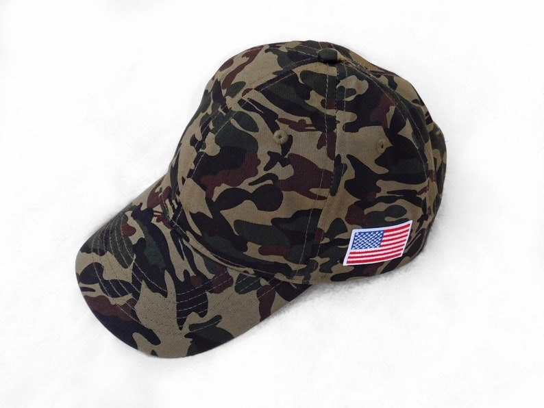 7bf080dac9060 Camo Baseball Hat With American Flag Patch Military USA Dad