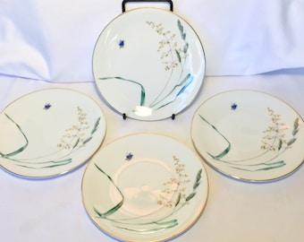 RARE Heinrich H&Co Selb Bavaria Germany SUMMER set of 4 salad bread plates