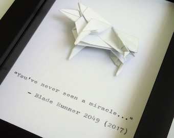 """Gaff's Blade Runner 2049 Origami Sheep and Hand-Typed Quote in a 4x6"""" (10x15cm) Box Frame"""