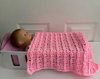 Hand Crocheted Rose Colored Baby Doll Blanket