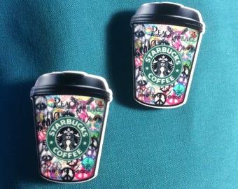 362d9dd0c STARBUCKS Star Bucks LOVE   PEACE Style Cup Coffee Latte Starbucks Clog  Shoe Charms