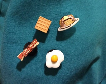 Cute Breakfast Food Pancakes Bacon Egg Waffle Set Clog Shoe Charms