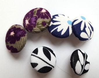 UNIQUE Big 22.5 mm Fabric Button Post Earrings Stud Earrings Handmade