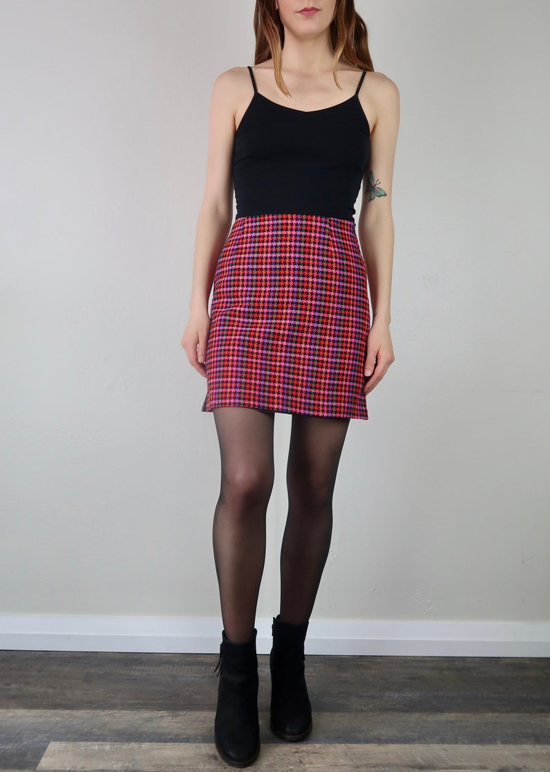 134c2b82f 90's Checkered High Waisted Skirt Colorful Vintage A Line | Etsy