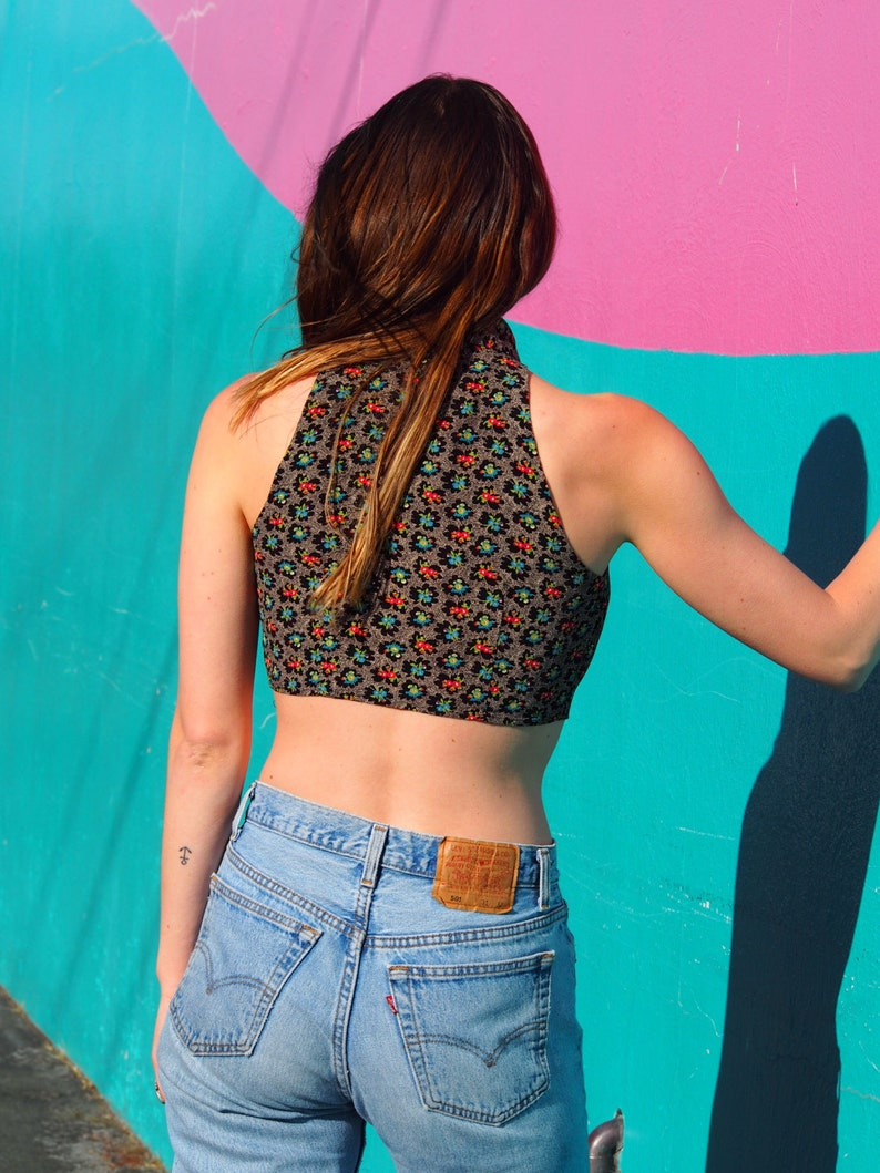 90/'s The Limited Floral Crop Top Tie Front Vintage Cropped Retro Nineties 90s Grunge Summer Buttonup