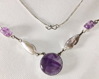 Handmade Amethyst and  Biwa Pearl Necklace Silver