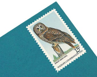 Pack of 25 Unused Vintage Owl Stamps - 15c - from 1978 - Unused Vintage Postage - Quantity of 25