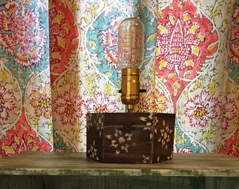 Jewelry Box Lamp- Desk Lamp- Rustic Lamp- Accent Lamp- Table Lamp