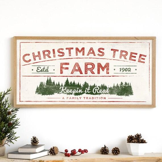 christmas tree print christmas tree farm rustic holiday etsy