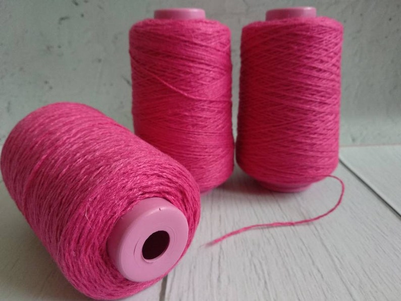 bright-pink linen flax thread yarn for crochet summer yarn warp yarn Magenta linen yarn with polyester yarn for weaving fuchsia linen