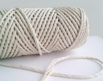 Cotton rope 2,8mm cotton cord 50m macrame natural rope cotton string, twisted rope, gift wrapping rope, gardening rope, scrapbooking rope