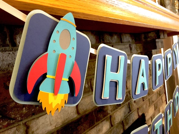 Rocket outer space theme birthday party banner