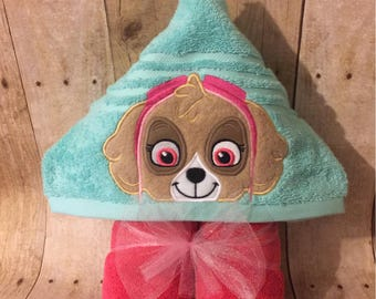 Helicopter Pup Hooded Towel  (ready to ship)