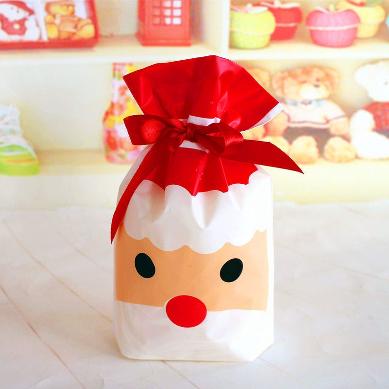 50pcs Style Christmas Cookie Snacks Chocolate Gift party Decoration Plastic Packaging Bags