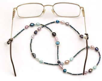 aac1e085872a Cultured Pearl Glasses Chain. Ladies Sunglasses Chain. Choice of Sizes.  Blue Eye Glasses Accessory Gift for Her. Spectacle Holder Lanyard