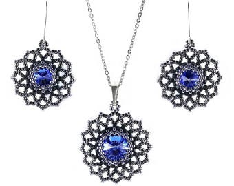 Swarovski Crystal jewelry set, Sapphire Blue crystal, Seed bead Beaded Beadwoven earrings pendant, Sterling silver, Beadwork, MADE TO ORDER