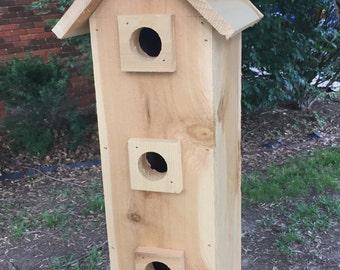 Cedar Birdhouse, Hanging Birdhouse, Homemade Three-Story Solid Cedar Birdhouse