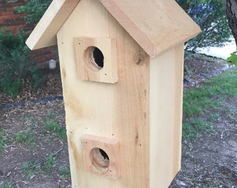 Handmade Two-Story Solid Cedar Birdhouse, Hanging Birdhouse