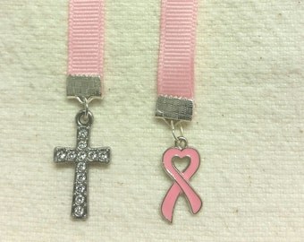 """10"""" pink ribbon Breast Cancer Awareness bookmark with cross and ribbon charms"""