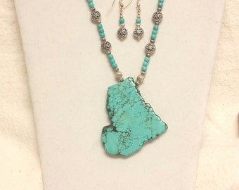 Turquoise Howlite slab necklace