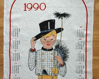 Tea Towel 1990 - Calendar Dish Towel - Vintage Tea Towel - Vintage Tea Towel - Cotton Linen Tea Towel - Retro Towel