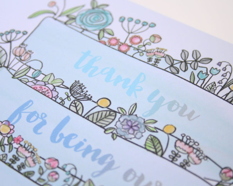 Watercolour Personalised Flower Girl Thank You Card Flower Girl  Card Personalised Flower Girl  Card Personalised Thank You Card