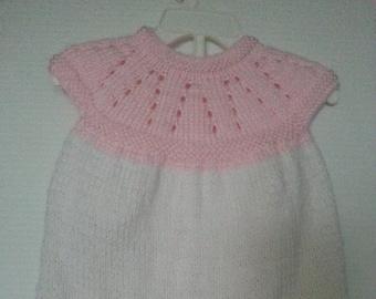 Hand Knit baby girl dress