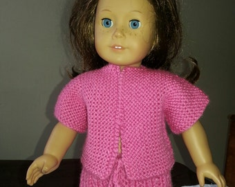 Hand Knit American Girl Doll outfit top and skirt